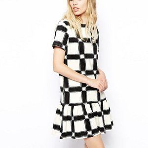 ASOS Peplum Hem Dress with Check Print in Scuba